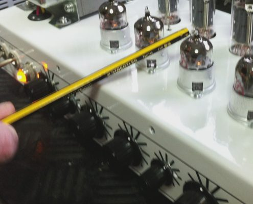 Screening Cans removed to reveal the preamp valves on an Orange Dual Terror